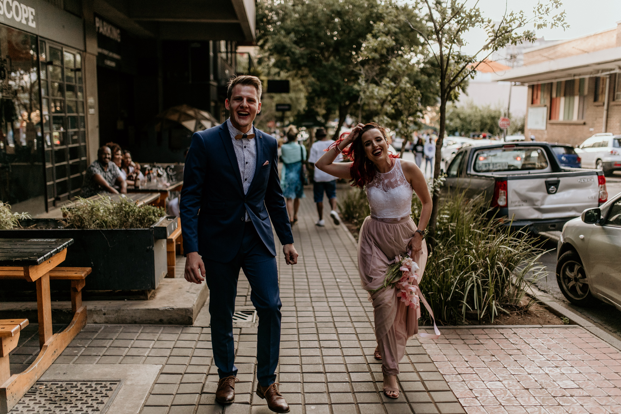 Young trendy married couple walking the streets of Maboneng